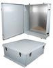30x24x11 UL Listed Fiberglass Reinf Polyester FRP Weatherproof Outdoor IP66 NEMA 4 Enclosure, Kit Bundled w/ Blank Aluminum Mount Plate Gray -- NB302411-KIT -Image