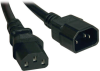Heavy-Duty C13 to C14 PDU-Style Power Extension Cable - 15A, 100–250V, 14 AWG, 1 ft., Black -- P005-12N