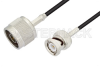 N Male to BNC Male Cable 72 Inch Length Using RG174 Coax -- PE3C3378-72 -Image