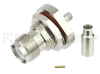 RP TNC Female (Jack) Bulkhead Connector For RG316, RG174, LMR-100 Cable IP67 Rated, Crimp/Solder, Nickel Plated Brass Body, Length 1.36 In