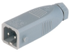 Rectangular Field Attachable Power Connector (ST Series): Male, straight, 2-pin+PE, grey housing, 230 V AC/DC, 16 A AC/6 A DC -- STAS 2 - Image
