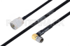 MIL-DTL-17 N Male to SMA Male Right Angle Cable 12 Inch Length Using M17/84-RG223 Coax -- PE3M0043-12 -Image