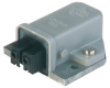 Rectangular Receptacle Power Connector (ST Series): Female, panel mount with coding slot, 2-pin+PE, grey housing, 230 V AC/DC, 16 A AC/6 A DC -- STAKAP 200 - Image