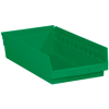 "17 7/8"" x 11 1/8"" x 4"" Green - Plastic Shelf Bin Boxes -- BINPS114G -- View Larger Image"