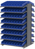 Akro-Mils 1800 lb Blue Gray Powder Coated Steel 16 ga Double Sided Fixed Rack - 36 3/4 in Overall Length - 132 Bins - Bins Included - APRD18128 BLUE -- APRD18128 BLUE - Image