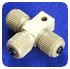 MICROTEE ASSEMBLY, WITH MOUNTING HOLE, FOR .025 IN OD TUBING SLEEVES, PEEK™ -- P-875