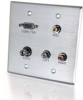 Double Gang HD15 VGA + 3.5mm + Composite Video + Stereo Audio Wall Plate - Brushed Aluminum -- 2225-40506-ADT - Image