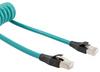 Category 5e Ethernet Coil Cord, RJ45-RJ45 90D Tangents, F/UTP Foil Shielded 26AWG High Flex Industrial Zero Halogen TPU Teal, 5 to 30F -- TRD815SZ-CD-5-30F -Image