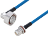 Plenum 7/16 DIN Male Right Angle to N Female Bulkhead Low PIM Cable 100 cm Length Using SPP-250-LLPL Coax Using Times Microwave Parts -- PE3C6197-100CM -Image