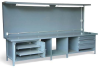 12' Workstation with Lights and Outlets -- T14436-4DS-2SOS-2FL-BP - Image