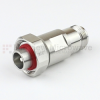 4.1/9.5 Mini DIN Male (Plug) to N Female (Jack) Adapter IP67 Mated, Tri-Metal Plated Brass Body, 1.25 VSWR -- SM4427 - Image