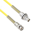 """Halogen Free Cable Assembly TRB 3-Slot Plug to Insulated Bulk Head 3-Lug Cable Jack with Bend Reliefs .245"""" O.D. -30C +80C 50 Ohm Triaxial Yellow 20' -- MSA00297-240 -- View Larger Image"""