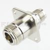 N Female (Jack) to TNC Female (Jack) 4 Hole Flange Adapter, Nickel Plated Brass Body, 1.35 VSWR -- SM4146 - Image