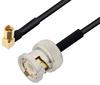 BNC Male to SSMC Plug Right Angle Cable 18 Inch Length Using PE-SR405FLJ Coax -- PE3C4487-18 -Image