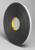 3M 4466 Black Foam Mounting Tape - 1/4 in Width x 36 yd Length - 62 mil Thick - 23505 -- 051115-23505 -- View Larger Image