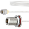 SMA Male to N Female Bulkhead Cable FM-SR086TB Coax in 18 Inch with LF Solder -- FMCA2129-18 -Image