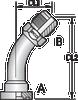S3 – Code 61 Flange JIC Male 45º Tube Bend -Image