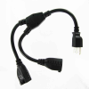 1ft 16 AWG Outlet Saver Power Cord Splitter (2 NEMA 5-15R to 1 NEMA 5-15P) -- P7YY-01