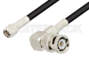 SMA Male to BNC Male Right Angle Cable 36 Inch Length Using LMR-195 Coax -- PE3C0040-36 -- View Larger Image