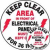 Accuform Slip-Gard Round Floor Signs: Keep Clear Area In Front Of Electrical Panel -- sf-17-998-323