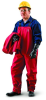 Ansell Sawyer-Tower 66-662 Red Medium CPC Polyester Trilaminate Reusable Chemical-Resistant Overall - 31 in Inseam - 076490-66409 -- 076490-66409 - Image