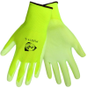 Global Glove PUG11 Neon Green Large Nylon Full Fingered Work & General Purpose Gloves - Polyurethane Palm Only Coating - Individually Wrapped - PUG11 LG -- PUG11 LG