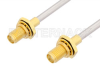 SMA Female Bulkhead to SMA Female Bulkhead Cable 18 Inch Length Using PE-SR402AL Coax -- PE3903-18 -Image
