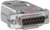 connector,d-sub kit,15 crimp cont receptacle w/cont and metalized plastic hood -- 70172325