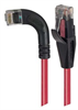 Category 5E Right Angle Patch Cable, Straight/ Right Angle Left Exit, Red, 1.0 ft -- TRD815RA6RD-1 -Image