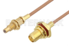 SMA Female Bulkhead to SSMC Jack Bulkhead Cable 18 Inch Length Using RG178 Coax -- PE3C4396-18 -Image