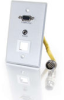 RapidRun® Single Gang Integrated HD15 + 3.5mm + Keystone Wall Plate - Brushed Aluminum -- 2212-42326-001