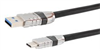 Ruggedized USB 3.0 Cable Assembly, A Male to C Male with Die Cast Shells and Optional Vision Thumbscrews, 28/26/22AWG, PVC, BLK, 1.0M -- CAU3DCVISAC-1M -Image