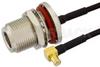 N Female Bulkhead to MCX Plug Right Angle Semi-Flexible Precision Cable 9 Inch Length Using PE-SR405FLJ Coax, RoHS -- PE39463-9 -- View Larger Image