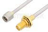 SMA Male to SMA Female Bulkhead Cable 6 Inch Length Using PE-SR402AL Coax -- PE34252-6 -Image