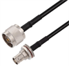N Male to BNC Female Bulkhead Cable Assembly using RG58 Coax, 3 FT -- LCCA30678-FT3 -Image