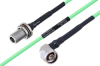 Temperature Conditioned N Female Bulkhead to N Male Right Angle Low Loss Cable 18 Inch Length Using PE-P160LL Coax -- PE3M0223-18 -Image