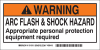 Brady B-302 Black / Orange on White Rectangle Polyester Arc Flash Label - 4 in Width - 2 in Height - Printed Text = WARNING ARC FLASH & SHOCK HAZARD APPROPRIATE PERSONAL PROTECTION EQUIPMENT REQUIRED -- 754476-00897