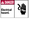 Machine/Equipment Labels (Black/Red on White; DANGER; 3 1/2