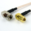RA SMA Male to RA SMC Plug Cable RG-316 Coax in 12 Inch and RoHS -- FMC0428315LF-12 -Image