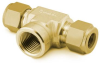 BRASS SWAGELOK TUBE FITTING FEMALE BRANCH TEE 1/4 IN. TUBE OD X 1/4 IN. TUBE OD X 1/4 IN. FEMALE NPT -- B40034TTF - Image