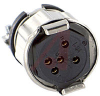 connector,mini hex,female plug w/locksleeve&hood w/cable clamp,solder,5 socket -- 70144740