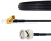BNC Male to RA SSMC Plug Cable LMR-100 Coax in 6 Inch -- FMCA1490-6 -Image