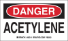 Brady B-235 Black / Red on White Paper Machine & Equipment Safety Label - 5 in Width - 3 in Height - Printed Text = DANGER ACETYLENE - 60311 -- 754476-60311