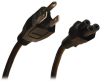 3-Slot Power Cord, NEMA 5-15P to C5 - Laptop/Notebook, 10A, 125V, 18 AWG, 6 ft., Black -- P013-006 - Image