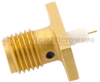 SMA Female Connector Stub Terminal Compression Attachment 2 Hole Flange , .481 inch Hole Spacing -- FMCN1379 -Image