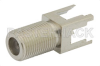 75 Ohm F Female Connector Solder Attachment Thru Hole PCB, .320 inch x .091 inch Hole Spacing -- PE44331 -Image