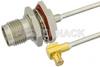 TNC Female Bulkhead to MCX Plug Right Angle Semi-Flexible Precision Cable 12 Inch Length Using PE-SR405FL Coax, LF Solder, RoHS -- PE39477-12 -Image