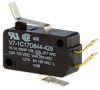 V7 Series Miniature Basic Switch, Single Pole Double Throw Circuitry, 15 A at 250 Vac, Special Lever Actuator, 150 gf Maximum Operating Force, Silver Contacts, Quick Connect Termination, CSA, UL -- V7-1C17D844-429