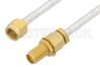 2.92mm Male to 2.92mm Female Bulkhead Cable 60 Inch Length Using PE-SR402FL Coax, RoHS -- PE34745LF-60 -Image