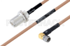 MIL-DTL-17 N Female Bulkhead to SMA Male Right Angle Cable 18 Inch Length Using M17/128-RG400 Coax -- PE3M0077-18 -Image